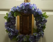Purple Delphiniums Burlap Wrapped Wreath