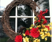 Grapevine Wreath with Flowers and Butterfly