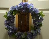 Purple Delphiniums Burlap Wrapped Wreath