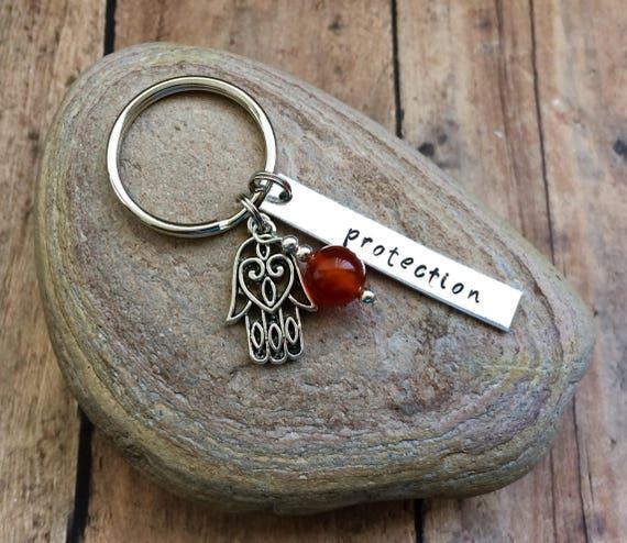 Hamsa Keychain Hand Of Fatima Keychain Protection Keychain Etsy
