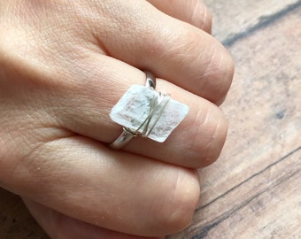Selenite Ring | Raw Selenite Ring | Goddess Jewelry | Sterling Silver Adjustable Ring | Sweet Angel Crystal | Selenite Jewelry
