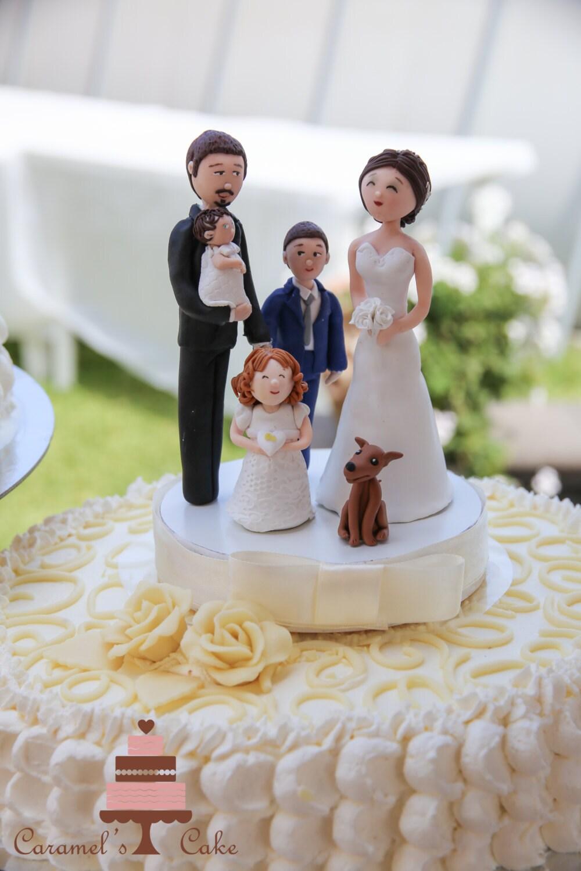 Wedding Cake Topper CT66f Two Children Groom Acrylic Cake Topper Family Cake Topper with Name Bride