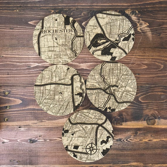 Rochester New York mosaïque Coaster Set