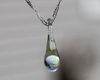 Heady Glass Pendant with Opal - Mystical Jewelry - Glass Teardrop Necklace - Blown Glass Pendant Necklace - Trippy Glass Pendant Opal
