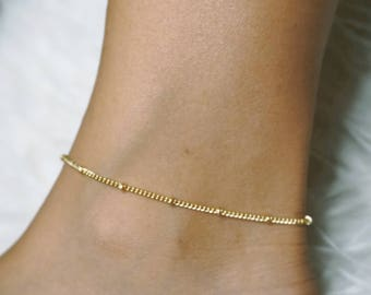 Gold Beaded Anklet, Gold Dainty Ankle Bracelet, Gold Body Jewelry, Beaded Ankle Bracelet, Anklets for Women, Gold Ankle Chain, Dainty Anklet