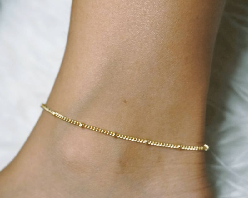 Gold Beaded Anklet Gold Anklet Gold Ankle Bracelet Gold image 0