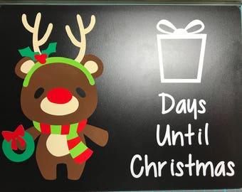 Christmas Countdown Chalkboard - Rudolph Reindeer Christmas Countdown - Reusable Christmas Countdown Chalkboard