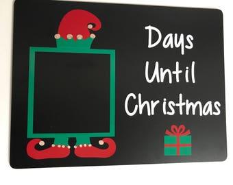 Countdown to Christmas Chalkboard - Elf Countdown - Reusable Chalkboard - Christmas Decoration