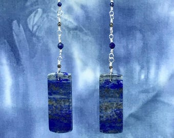 Lapis Lazuli and Pyrite wire wrapped earrings
