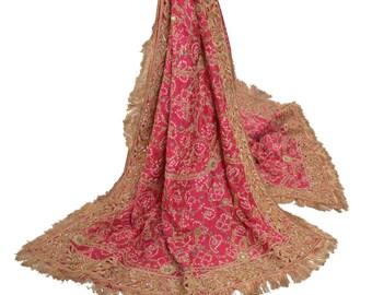 Dye KK Vintage Dupatta Long Stole Pure Chiffon Silk Red Hand Beaded Tie