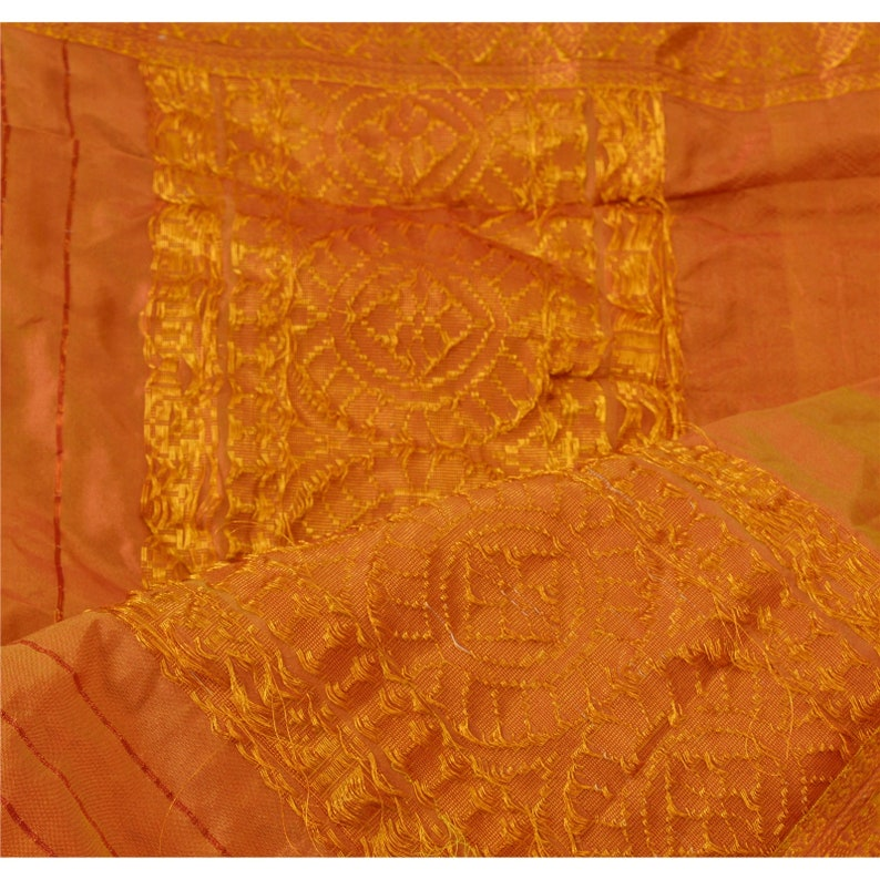 KK Vintage Dupatta Long Stole Art Silk Saffron Shawl Woven Zari Scarves