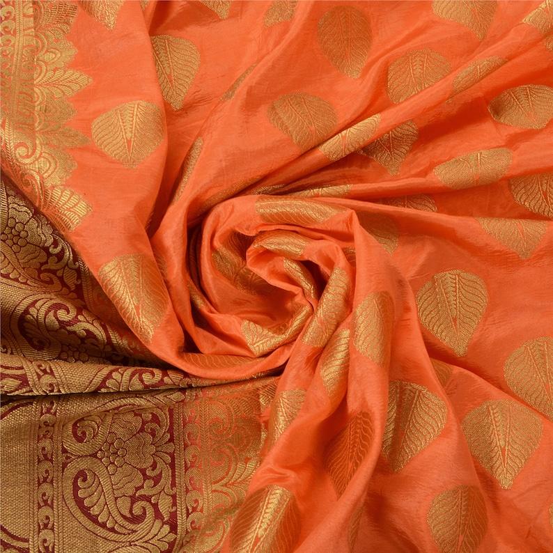 KK Vintage Peach Heavy Saree Art Silk Banarasi Brocade Woven Fabric Sari 5 Yard