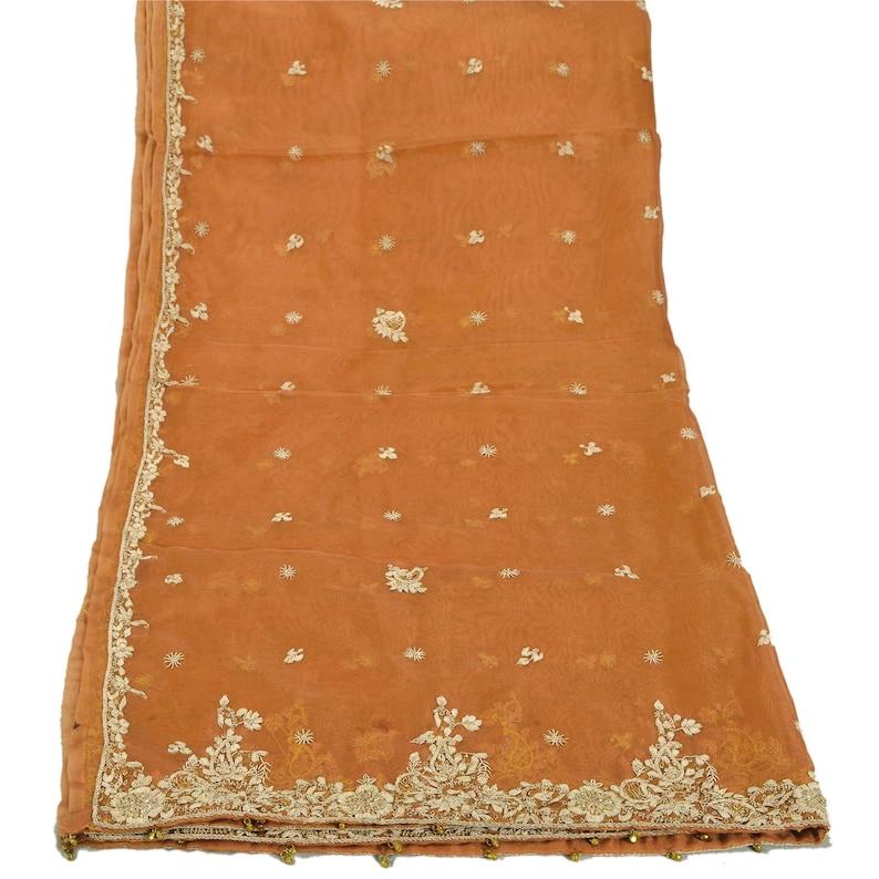 KK Vintage Saffron Heavy Dupatta Net Mesh Hand Embroidered Ethnic Stole
