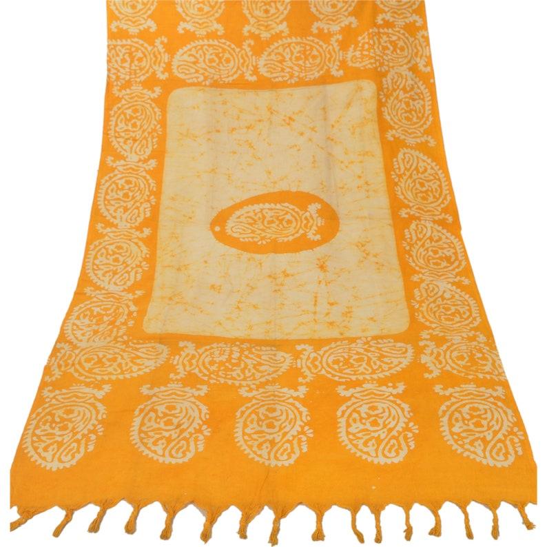 Vintage Dupatta Long Stole Cotton Cream Batik Work Paisley Scarves