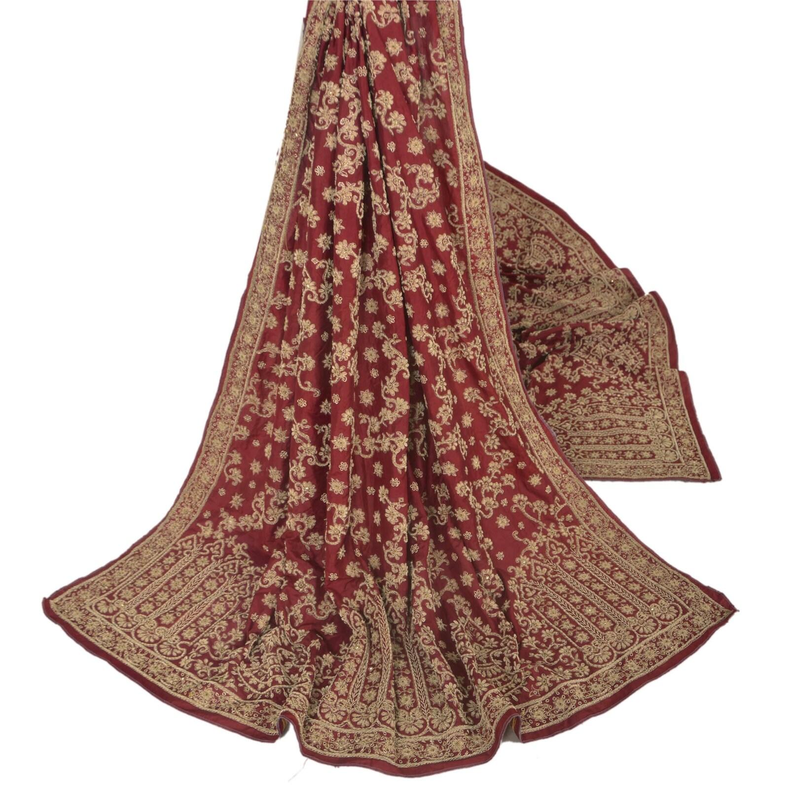 KK KK KK Vintage Dark Red Heavy Dupatta Pure Silk Fabric Stole Hand Beaded d47b68