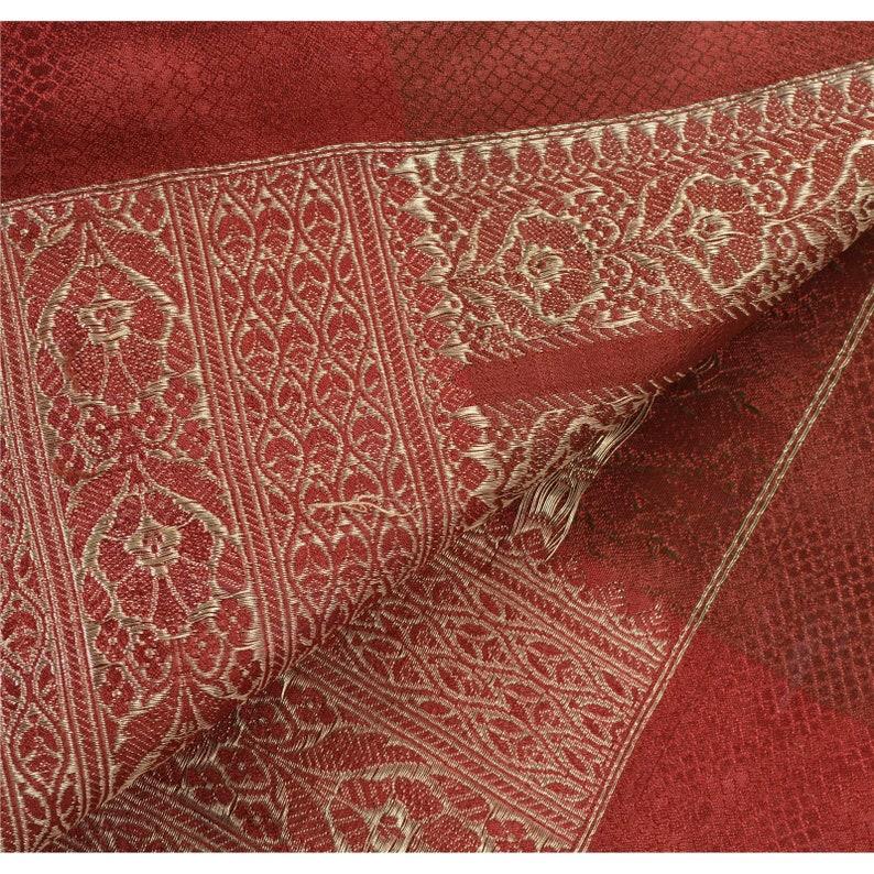 KK Vintage Red Heavy Saree Art Silk Banarasi Brocade Woven Fabric Sari 5 Yard