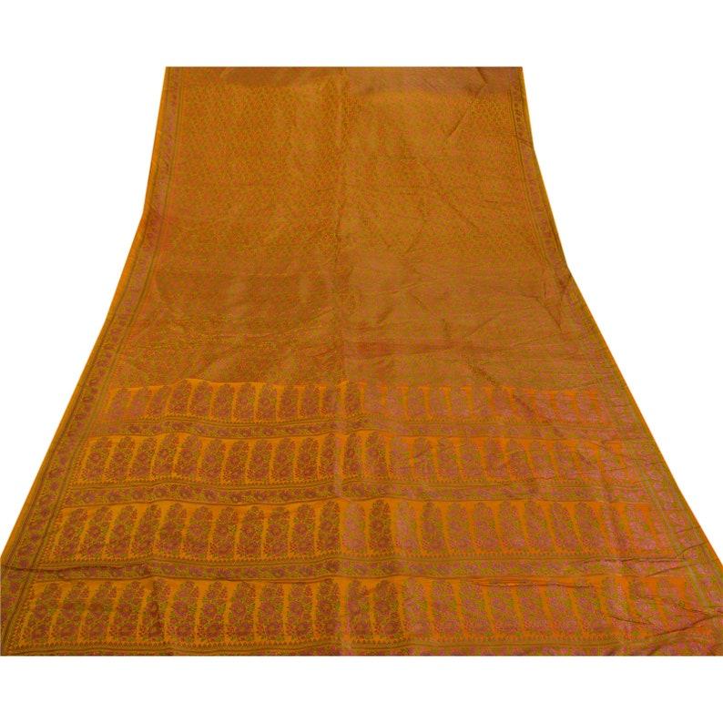 KK Vintage Mustard Heavy Saree Art Silk Woven Craft Fabric Ethnic Sari 5 Yard