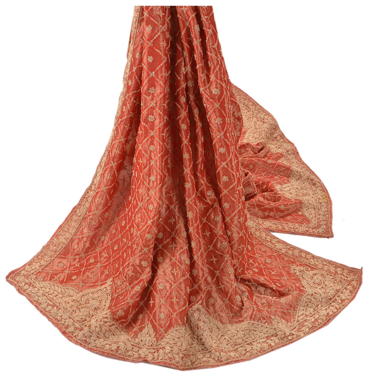 KK Vintage Heavy Heavy Heavy Dupatta Tissue Stole Hand Beaded Woven Zardozi Pink 9fe2f1