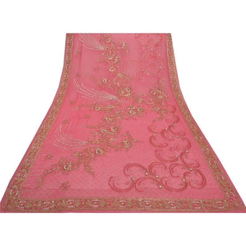 Vintage  Heavy Dupatta Pure Georgette Silk Pink Glass Beads Stole