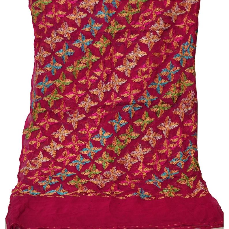 KK Vintage Dupatta Long Stole Ooak Pink Hand Embroidered Bagh Phulkari