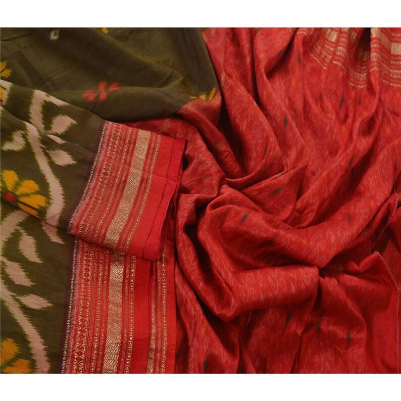 KK Vintage Green Saree 100/% Pure Silk Woven Patola Ikat Sari Craft Fabric 5 Yard