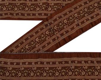 KK Vintage 1 Yd Sari Border Woven Indian Trim Sewing Brown Lace