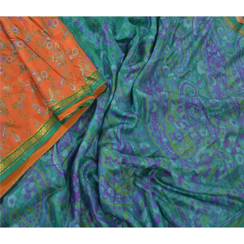 Vintage Sari 100/% Pure Silk Orange Sarees Printed Zari Border 5 yard Craft Fabric