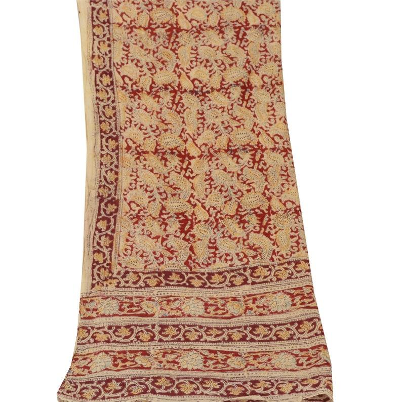 KK Vintage Dupatta Long Stole Pure Cotton Red Block Printed Kalamkari