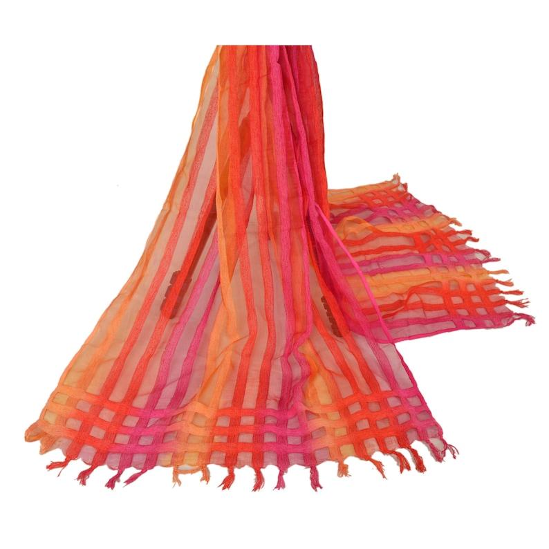 KK Vintage Dupatta Long Stole Organza Multi Color Veil Woven Scarves