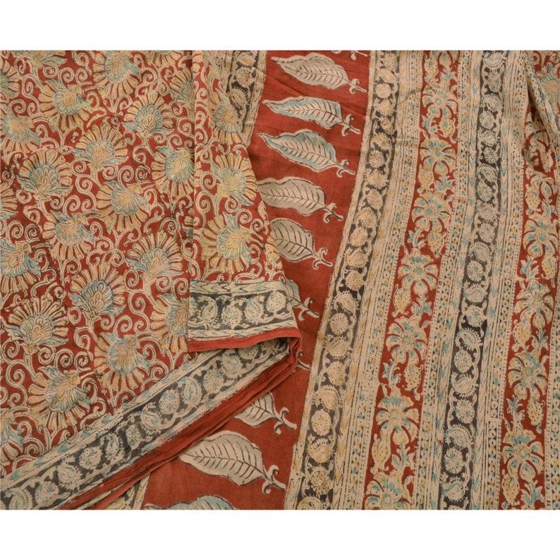 KK Vintage Red Heavy Saree 100/% Pure Cotton Fabric Block Print Kalamkari Sari 5 Yard