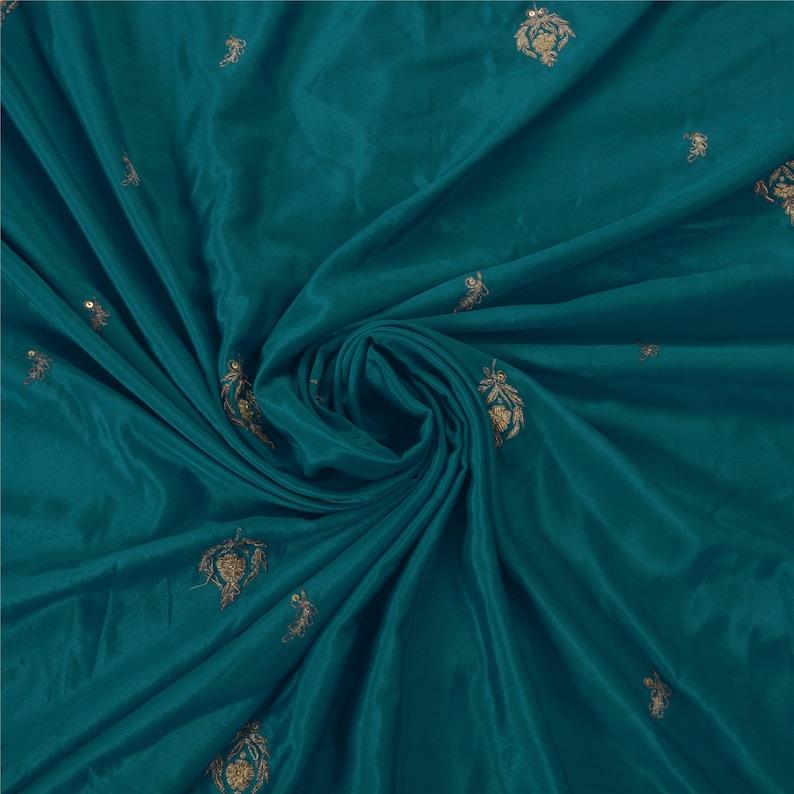 KK Vintage Blue Saree Art Silk Craft Fabric Premium Zardozi 5 Yd Sari