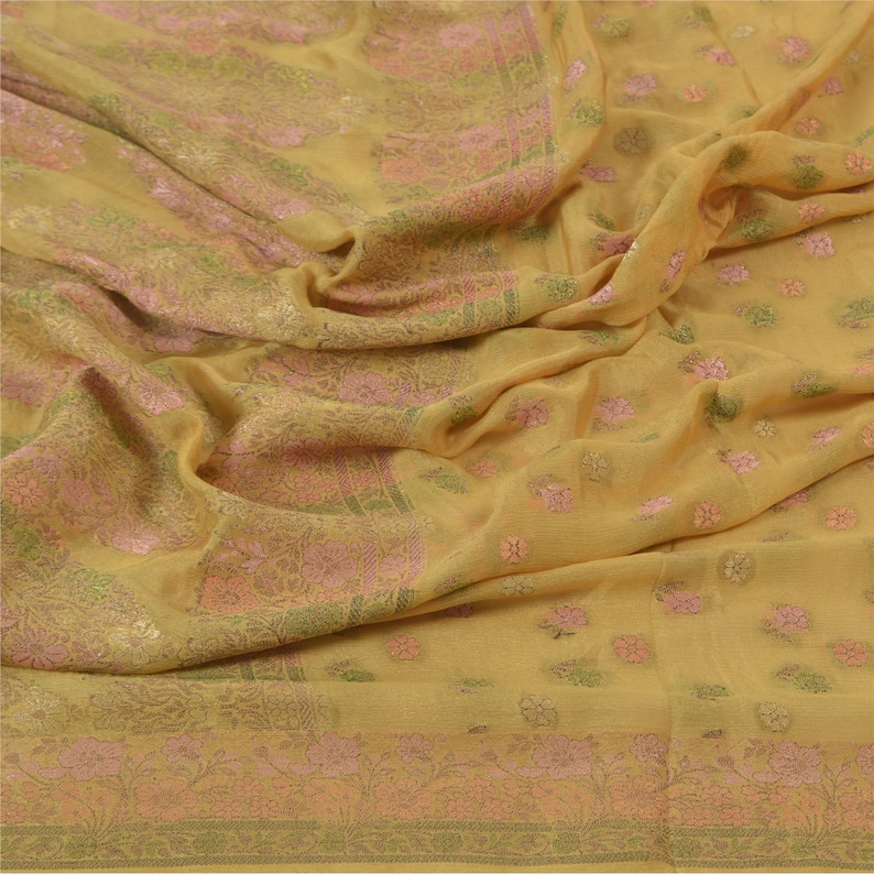 Vintage Dupatta Long Stole Pure Silk Green Hijab Woven Work Scarves