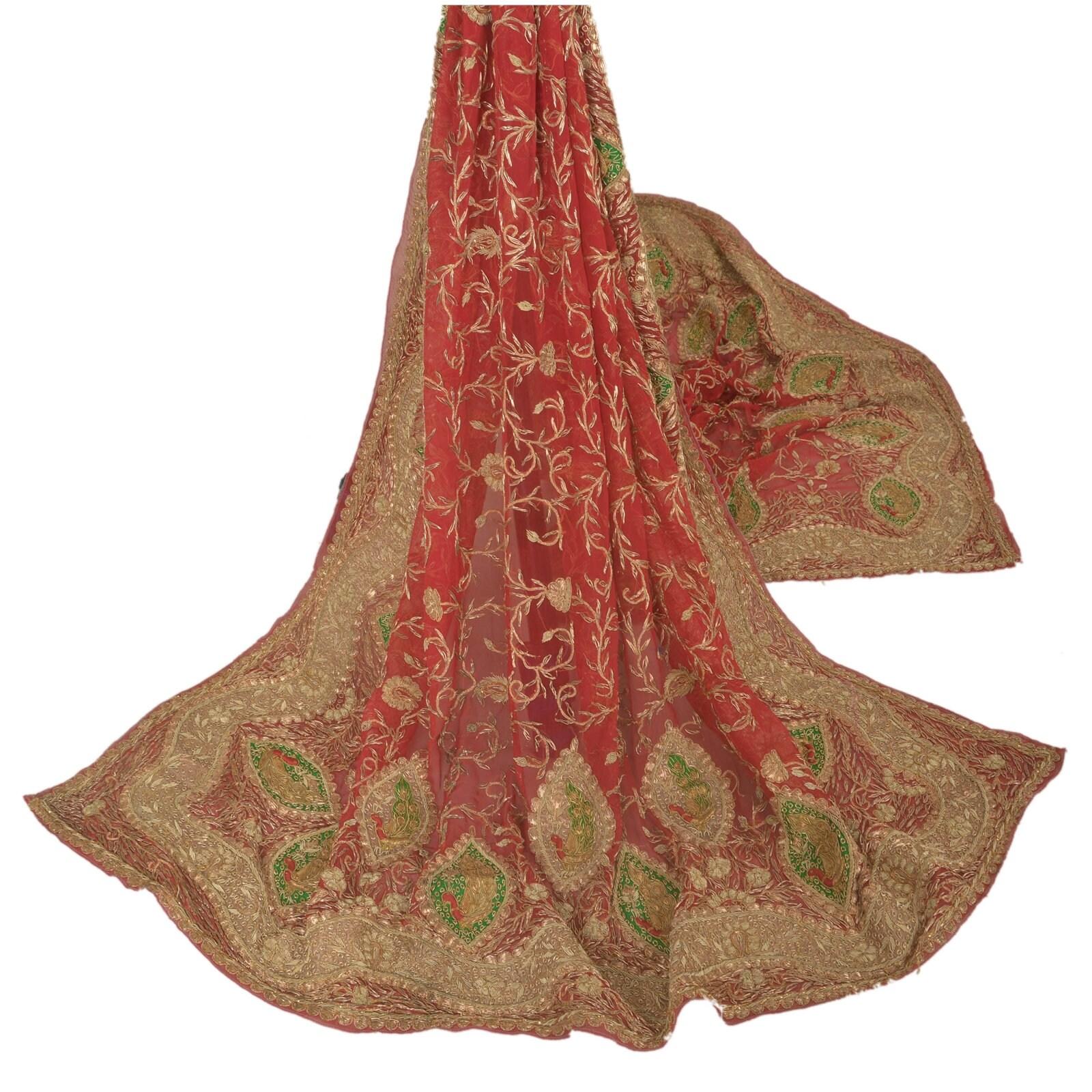 KK Vintage Red Red Red Heavy Dupatta Pure Chiffon Silk Fabric Stole Zardozi Work c65ad0