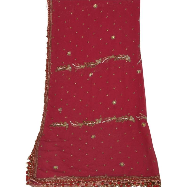 KK Vintage Dupatta Long Stole Pure Georgette Silk Pink Hand Beaded Veil