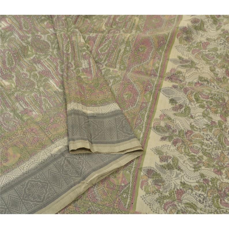Vintage Sari 100/% Pure Satin Silk Grey Heavy Saree Woven Tanchoi Fabric