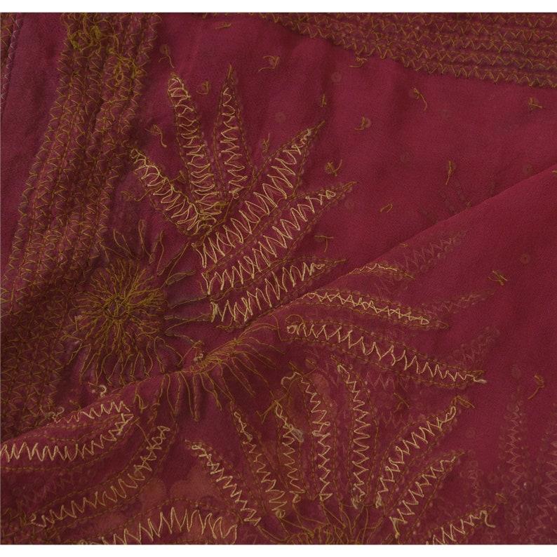 KK Vintage Dupatta Long Stole Georgette Pink Shawl Hand Beaded Scarves