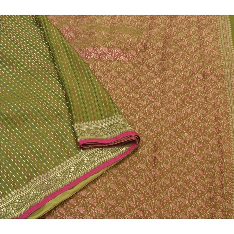 Vintage Sari 100/% Pure Satin Silk Green Heavy Saree Banarasi Tanchoi 5 yard Fabric