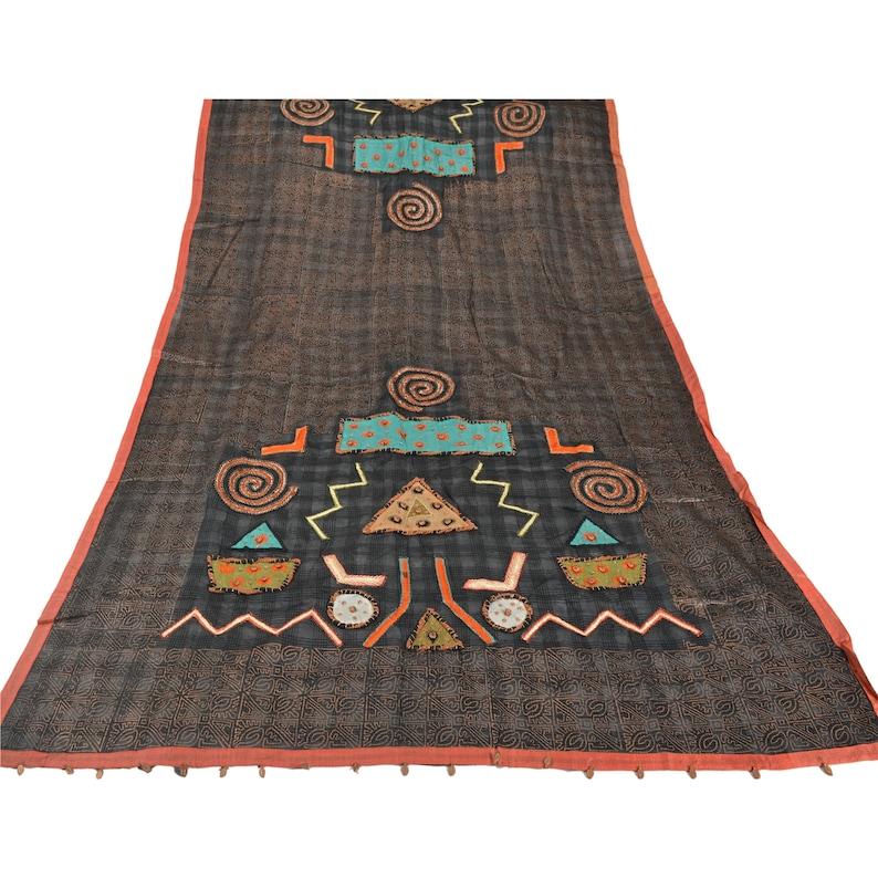 KK Vintage Black Heavy Dupatta Pure Silk Hand Beaded Patch Painted Stole
