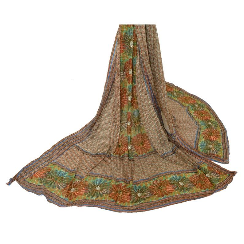 KK Vintage Dupatta Long Stole Pure Chiffon Silk Veil Hand Beaded Scarves