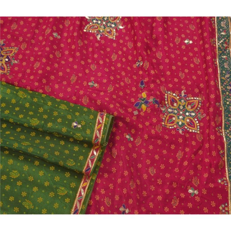 KK Vintage Multicolor Saree Art Silk Hand Beads Craft Premium Sari Fabric 5  Yard