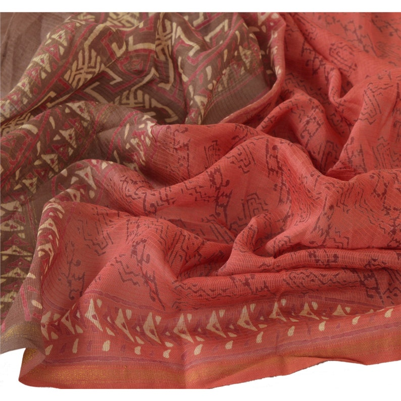 KK Vintage Dupatta Long Stole Pure Chanderi Silk Pink Shawl Printed Hijab
