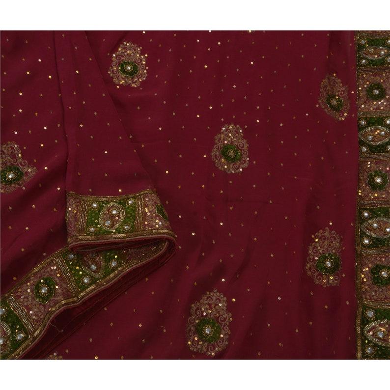 KK Vintage Saree 100/% Pure Georgette Silk Hand Embroidery Fabric Sari 5 Yard