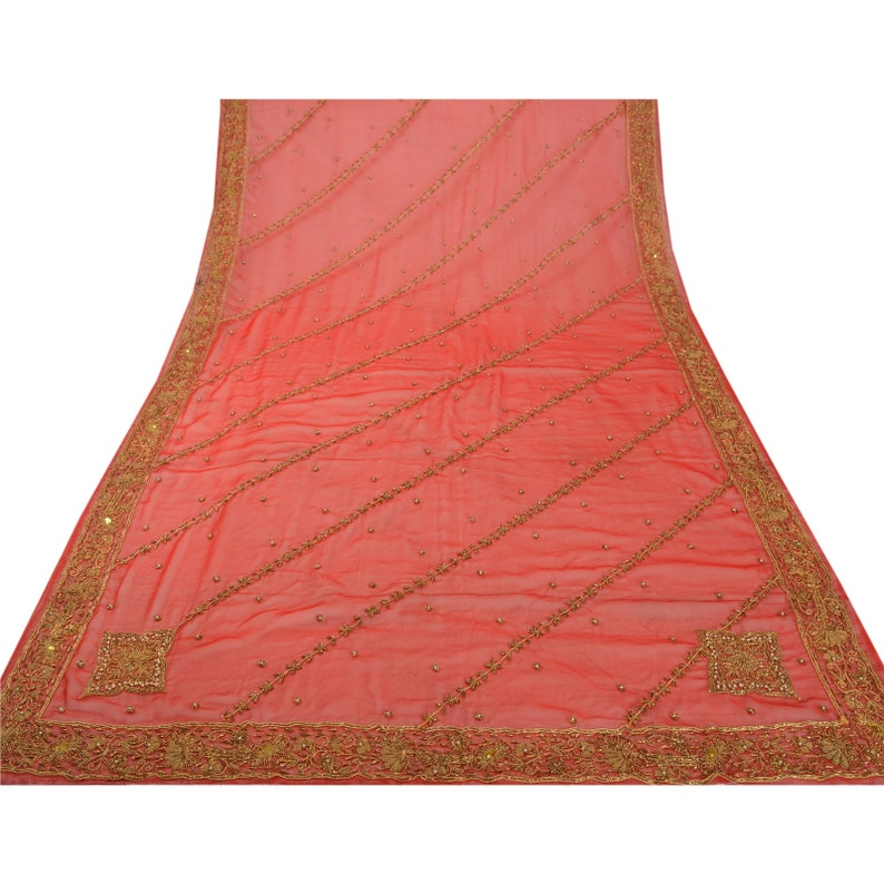 Vintage Heavy Dupatta Pure Georgette Silk Red Hand Beaded Stole