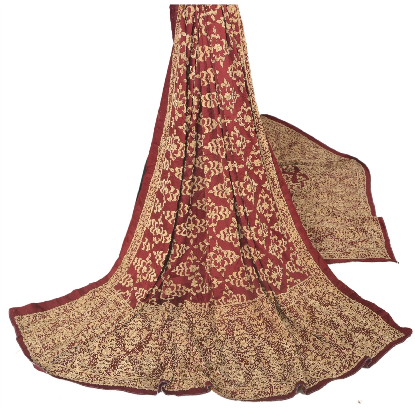 KK KK KK Vintage Red Heavy Dupatta Pure Satin Silk Fabric Stole Hand Beaded f70537