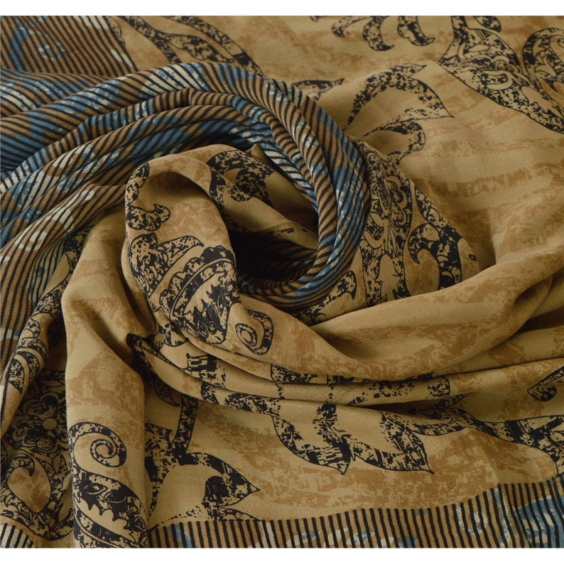 KK Vintage Green Saree 100/% Pure Silk Hand Beaded Sari Craft Fabric Premium 5 Yard