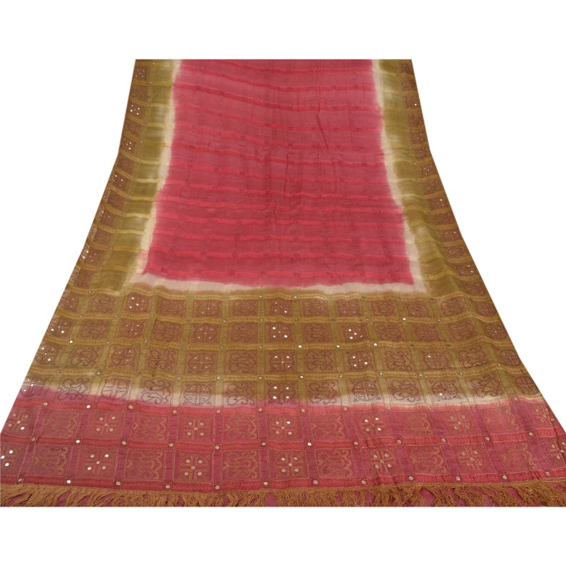 KK Vintage Saree 100/% Pure Silk Hand Embroidery Pink Craft Fabric Sari Premium 5 Yard