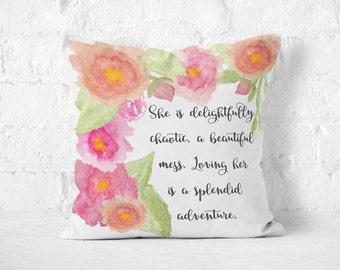 Decorative Throw Pillows, Inspirational Quote Pillows, Watercolor Art, Functional Art, Boho Decor, Throw Pillows, Bohemian, Pillow Cover