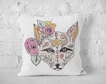 Decorative Pillows, Boho Fox Pillow, Feather Decor, Boho Pillow, Throw Pillows, Watercolor Fabric, Boho Decor, Bohemian, Pillow Cover