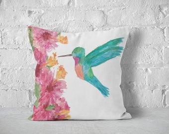 Watercolor Hummingbird, Decorative Pillows, Boho Pillow, Throw Pillows, Watercolor Art, Boho,  Pillow Cover