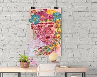 Esperanza, 18x24, Original Abstract Painting, Feminist Art, Acrylic Painting, Wall Art, Original Art, Frida Kahlo, Feminist, Modern Art